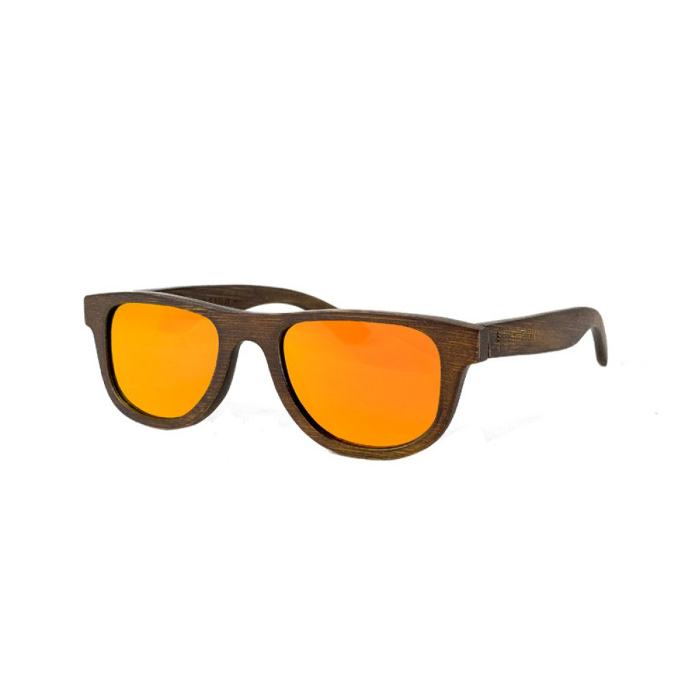 Wooden orange mirror sunglasses