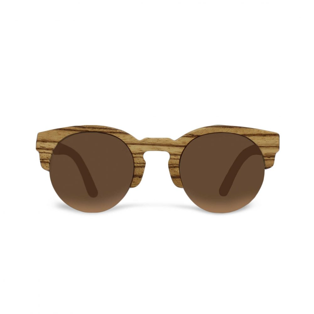 Round wooden sunglasses