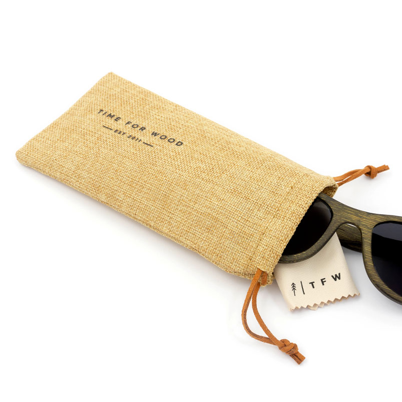 Wooden sunglasses bag